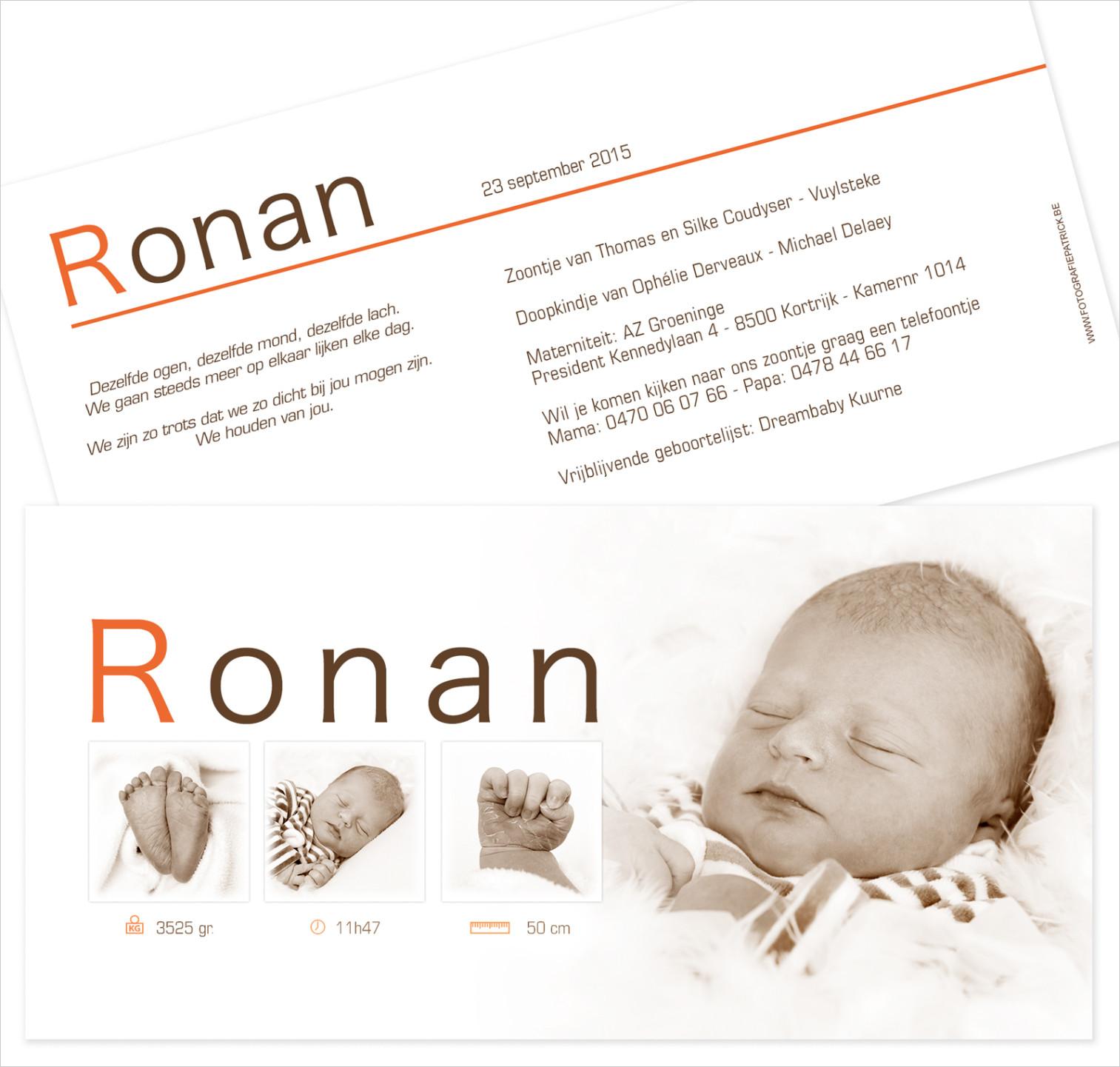 Geboortekaartje met foto van Ronan
