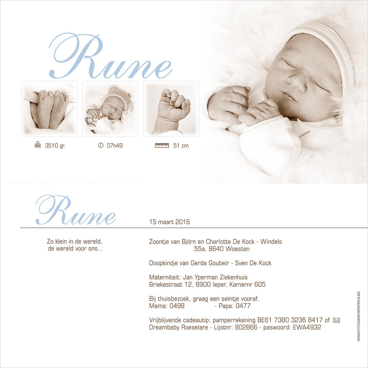 Geboortekaartje met foto van Rune
