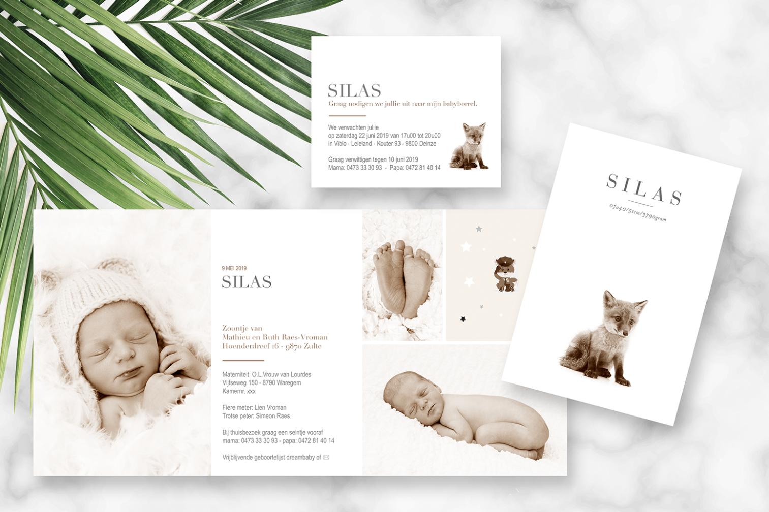 Geboortekaartje met foto van Silas