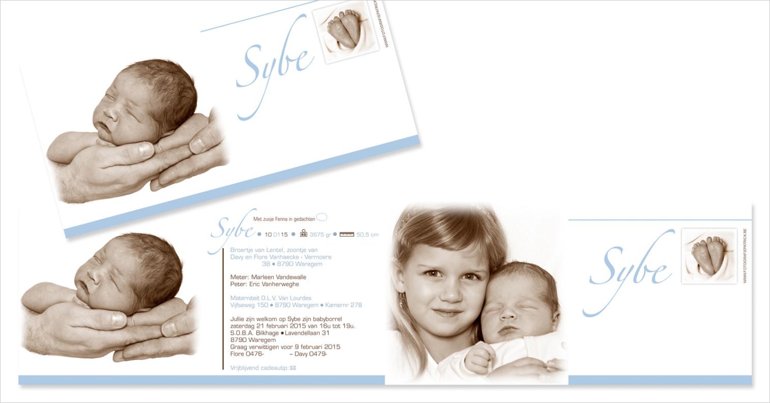 Geboortekaartje met foto van Sybe