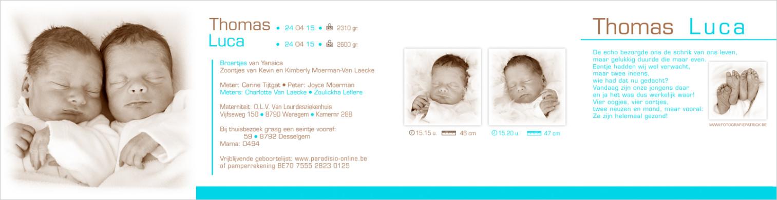 Geboortekaartje met foto van Thomas
