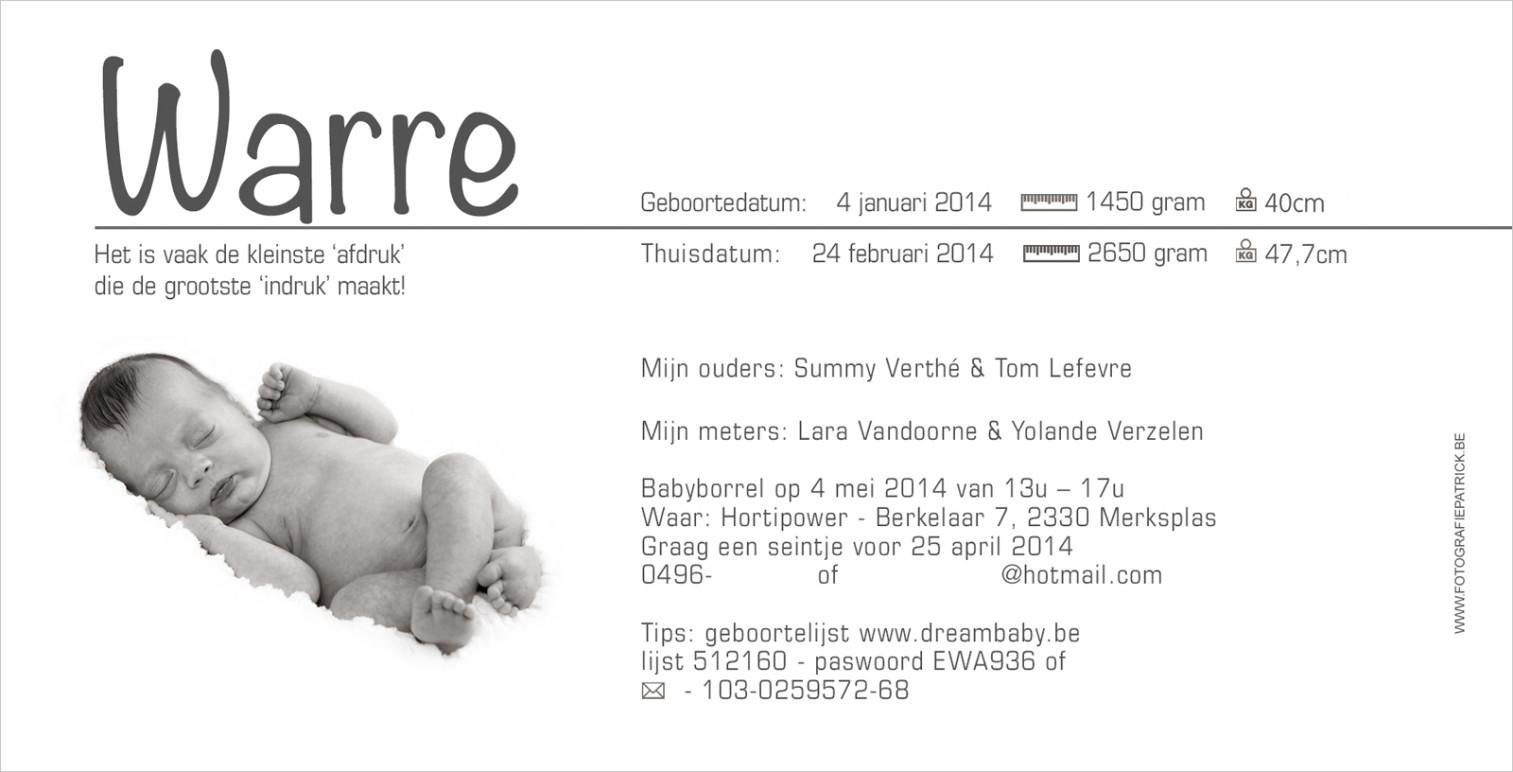 Geboortekaartje met foto van Warre