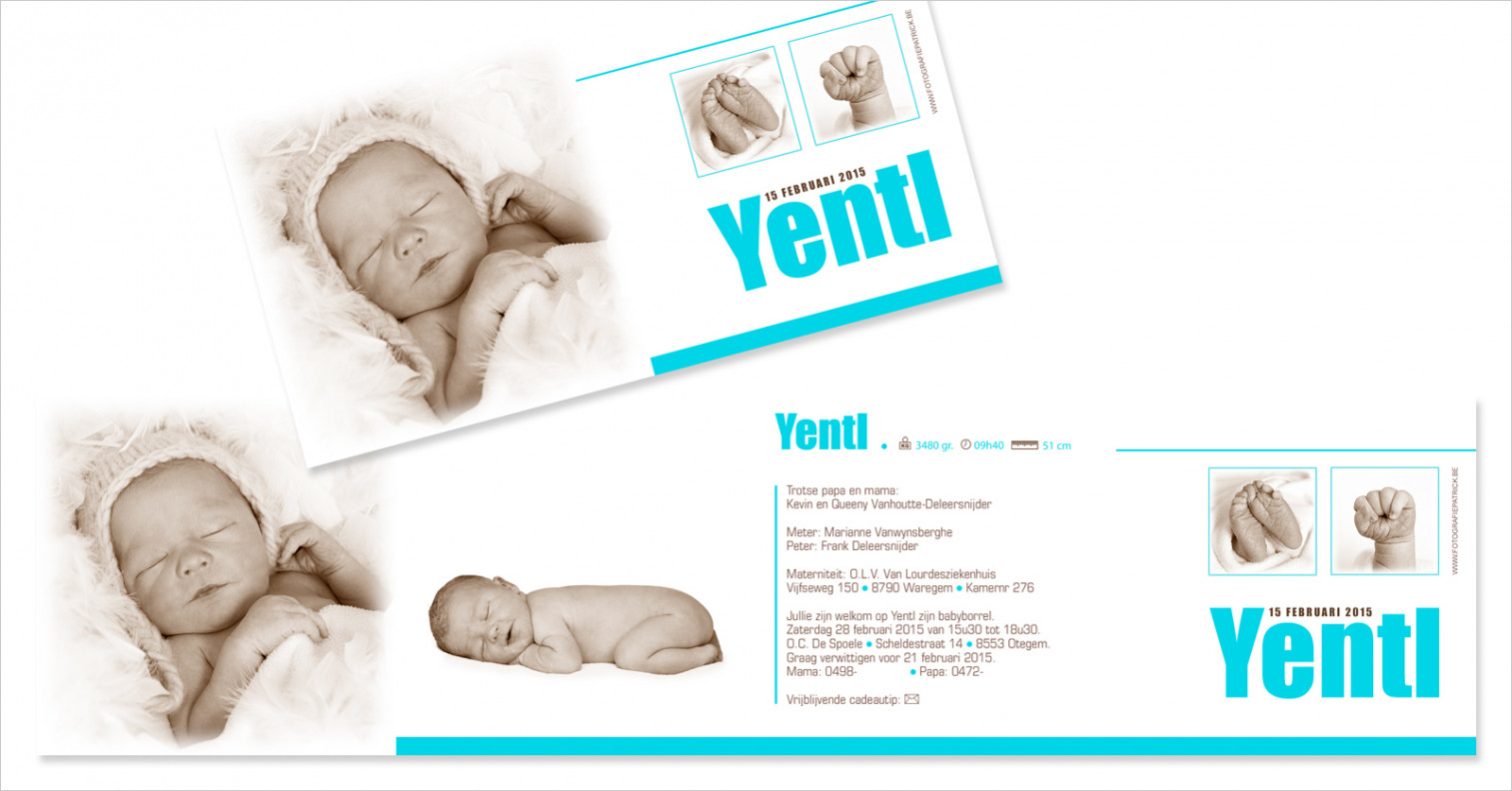 Geboortekaartje met foto van Yentl