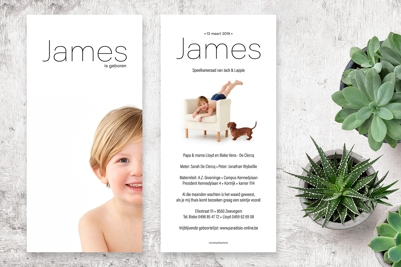 geboortekaartje met foto van James