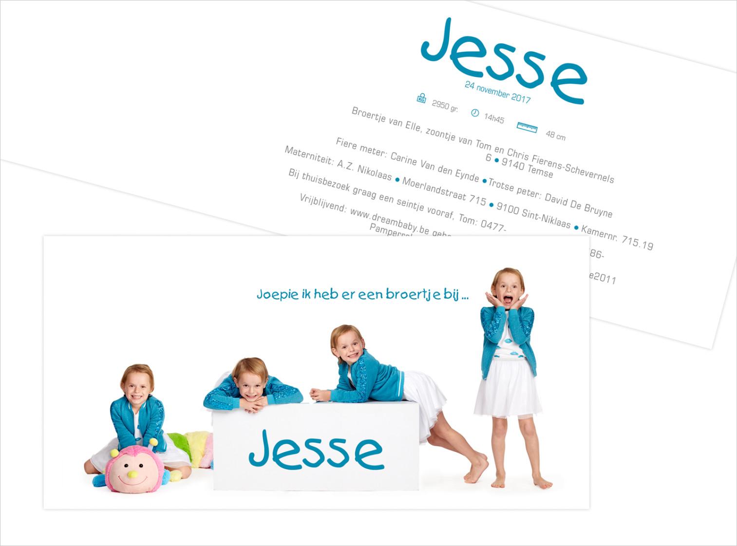 Geboortekaartje met foto van Jesse
