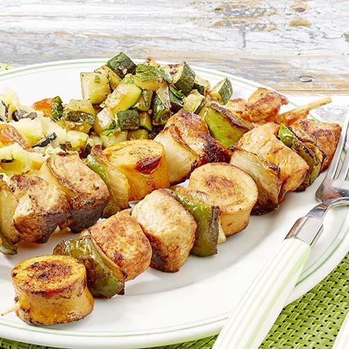 Brochette met gestoofde courgette en zuiderse puree