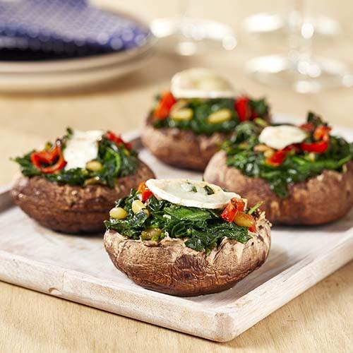 Gevulde portobellos met spinazie