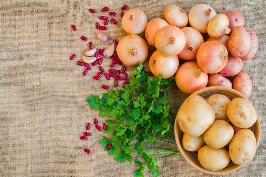 fresh potatoes and onions