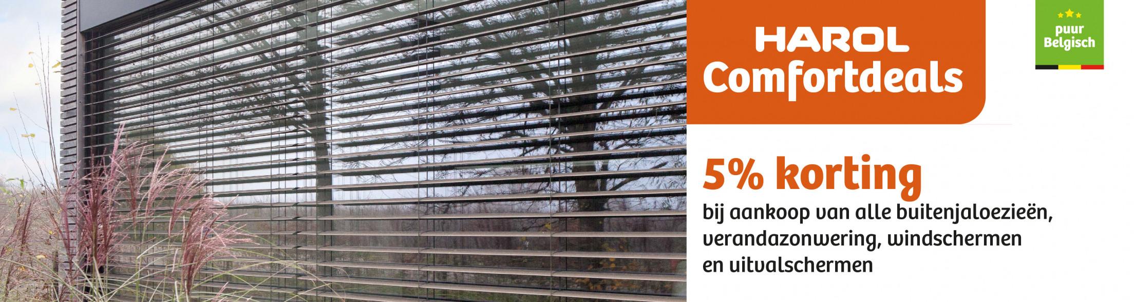 Ontvang 5 % korting bij aankoop van een Harol verandazonwering, buitenjaloezie, windscherm, uitvalscherm tot 16/05/21