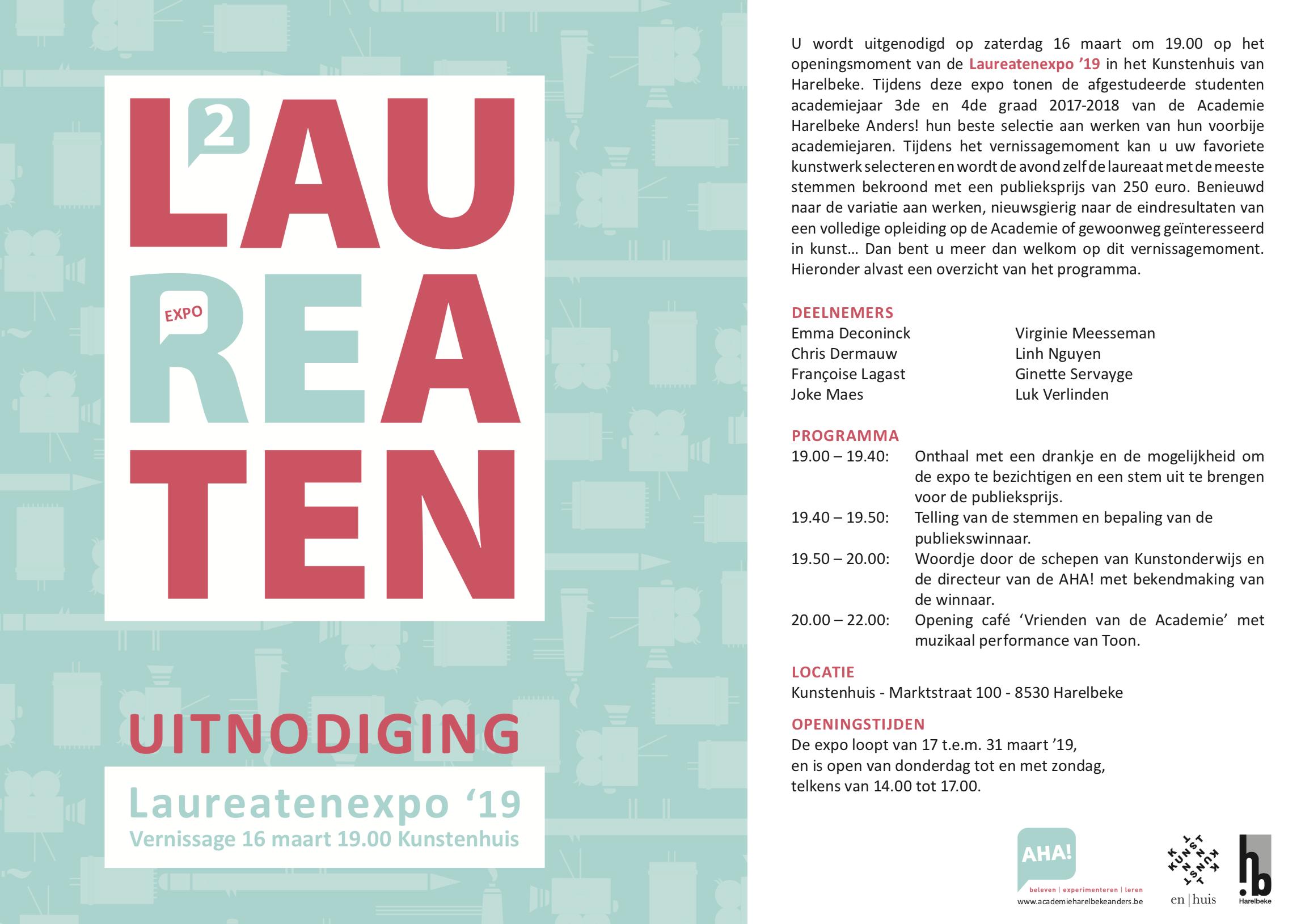Laureatenconcert Harelbeke 2019 - uitnodiging