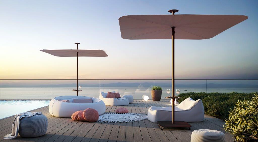 Infina UX Garden umbrella_Culture_Infina_LR, Sunbrella Blush, option small table