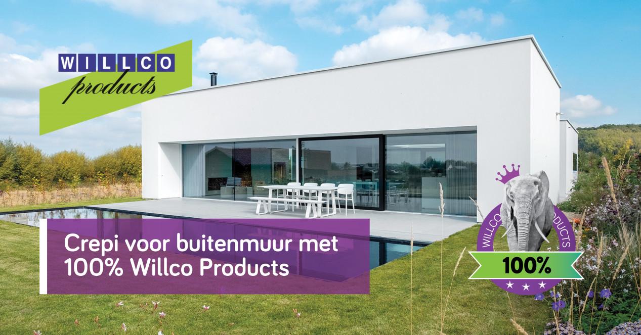 Crepi voor buitenmuur met 100% Willco Products Willco_202108ADVF01_crepibuitenmuur